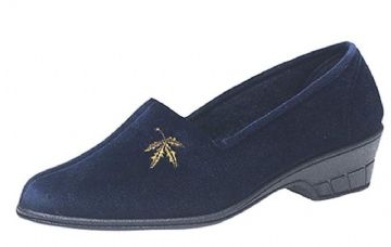 Ladies Cuban Heel Velour Slippers with Embroidered Motif Navy Blue